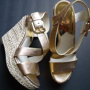 SIZE 81/2 M.Michael Kors Gold Leather Espadrilles.